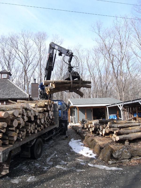 「田舎暮らしをして最も幸せを感じる時はどんな時?」と聞かれて答えるのは、2年に一度訪れる薪の原木を森林組合から買って薪小屋の前にその原木が荷降ろしされている瞬間を答えます。広葉樹の原木の匂いをかぐと、田舎に越してきて本当によかったなと毎回実感します。