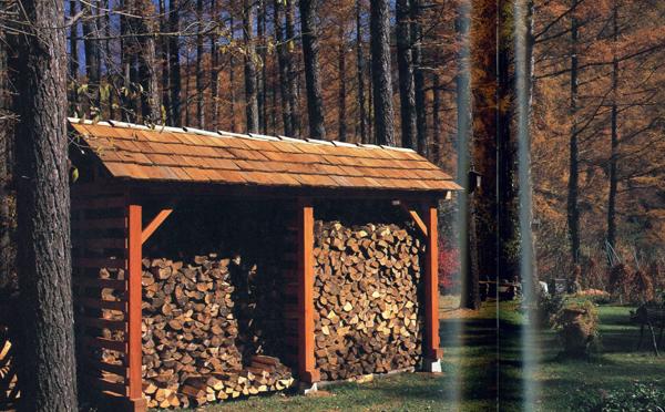 田淵義男さんの庭の薪小屋がこれまで見た薪小屋では最高です。田淵さんの長野の山の中での暮らしをつづった著書「森暮らしの家」)講談社)からコピー