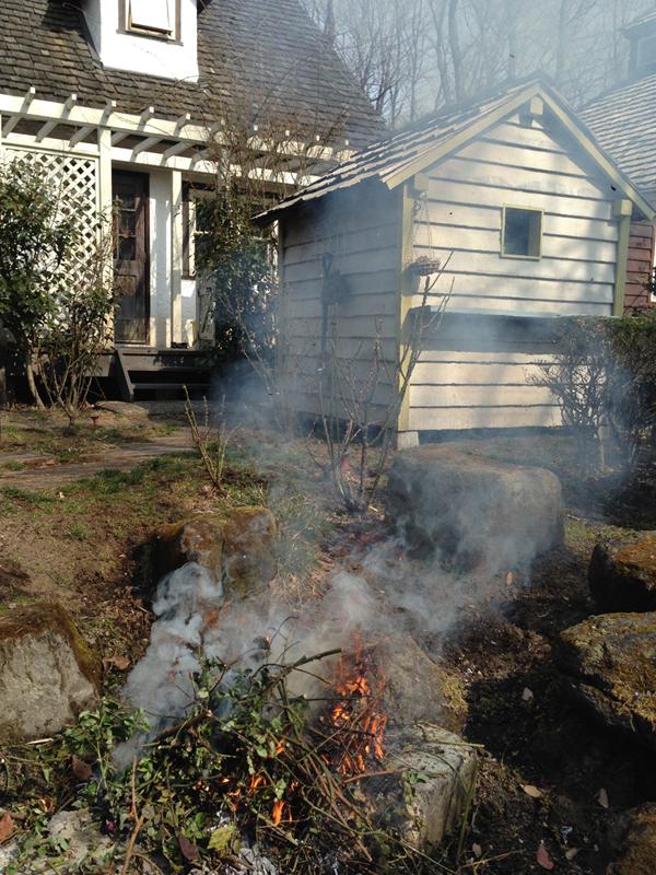 我が家の春の風景その2―冬にたまった庭のごみを燃やす焚き火